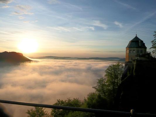 Morgenstimmung auf der Festung Königstein