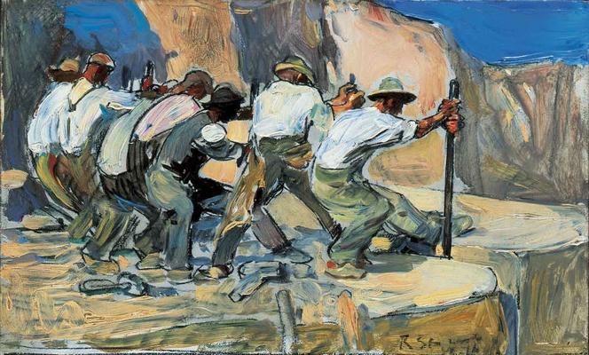 Robert Sterl: Steinbrecher, 1909, Öl auf Pappe, Foto: Jürgen Karpinski, © Robert-Sterl-Haus