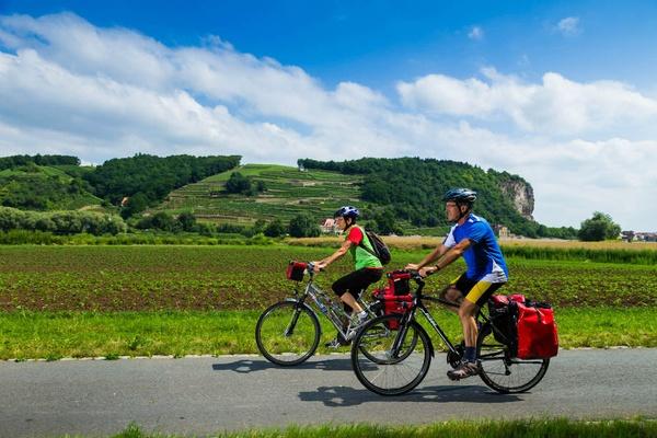 Auf dem Elberadweg bei Meißen genießen Radfahrer den Blick auf die Weinberge. Foto: Elberadweg Süd / Sylvio Dittrich