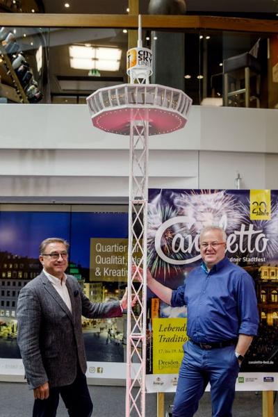 v.l.n.r. Geschäftsführer der Skyliner GmbH Thomas Schneider und CANALETTO-Veranstalter Frank Schröder © Dresdner Stadtfest GmbH, Michael Schmidt