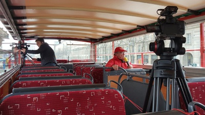 Making of #VisitDresdenSoon Video Stadtrundfahrt. Quelle: Die roten Doppeldecker