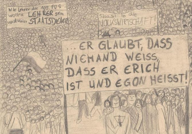 Ausschnitt aus einer Schülerzeichnung zu den Dresdner Montagsdemonstrationen, um 1990, © Foto: Stadtmuseum Dresden