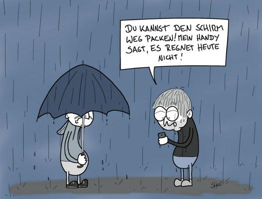 "Steffen Huber ""Wetter-App"" / © Deutscher Karikaturenpreis"