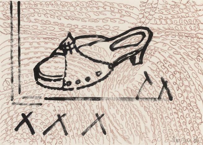 Petra Kasten, Pantolette, 1996, Ölpastell u. Acryl auf Papier