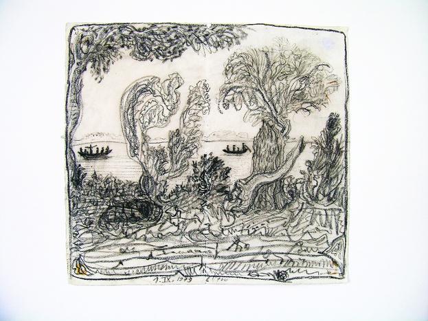 Strawalde, Lütow, 1979, Bleistift-Kohle auf Papier / Repro: Leonhardi-Museum Dresden