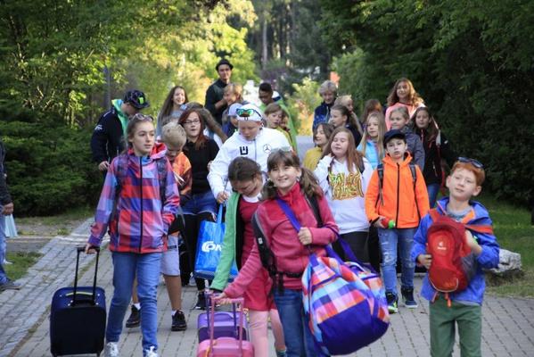 Schulklasse bei Ankunft im Kiez © Landesverband KiEZ Sachsen  Winni Kettner