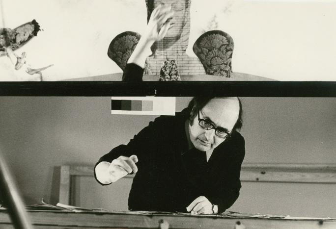 Kurt Weiler während der Animation zu REKONSTRUKTION EINES BERÜHMTEN MORDFALLS, 1975, © DIAF