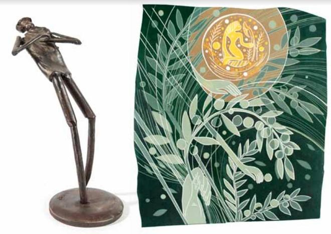 Ulrich Barnickel, »Stolz«, Bronze // Christina Simon, »Der Aufgehende, er läßt alles wachsen für den König«, 72 x 64 cm, Grafik